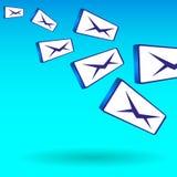 Enkel färgrik illustration av flyget av meddelanden för post i stora partier stock illustrationer