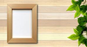 Enkel fotoram på wood bakgrund Arkivbild