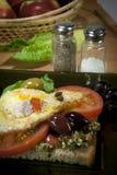 enkel frukostsmörgås Arkivbild