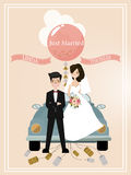 Enkel gehuwd Retro Auto met enkel gehuwd teken De verfraaide Auto van het Huwelijk Vector illustratie stock illustratie