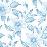 enkel Geregend Blauw waterverfpatroon stock illustratie