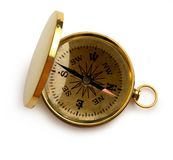 Enkel guld- kompass Royaltyfri Bild