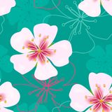 Enkel gullig sömlös modell för tapet Tappningrosa färgen blommar på gräsplan stock illustrationer