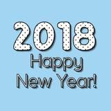 Enkel hälsninghelgdagsaftonnye, det nya året 2018, vektortexten uttrycket ordet av det 2018 lyckliga nya året önskar helgdagsafto stock illustrationer