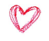 Enkel hjärta som dras med en röd färgpenna på vitbok Royaltyfria Foton