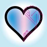 Enkel hjärtavektorillustration med utskrivavna strömkretsar arkivbilder