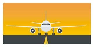 Enkel illustration för flygplan och för landningsbana Stock Illustrationer