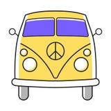 Enkel illustration för hippieminivan med kärnvapennedrustningpacifistsymbol Arkivbilder