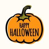 Enkel illustration för kort för affisch för halloween vektorbaner med pumpa Royaltyfria Bilder