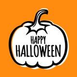 Enkel illustration för kort för affisch för halloween vektorbaner med pumpa Royaltyfri Bild