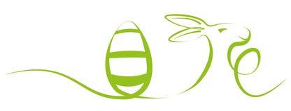 Enkel illustration för slaglängdeaster ferie med ägget och påskkaninen Royaltyfri Fotografi
