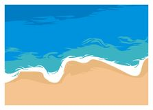 Enkel illustration för tyst strand, bästa sikt royaltyfria bilder