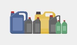 Enkel illustration för vektor av olika kanistrar, flaskor och bensindunkar stock illustrationer