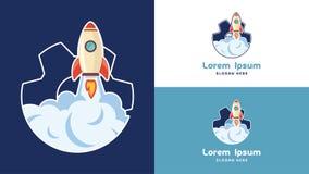 Enkel inställande Rocket Logo Design mall, teknologi Logo Design Vector Royaltyfri Foto