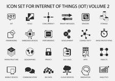 Enkel internet av sakersymbolsuppsättningen Symboler för IOT med plan design stock illustrationer