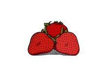 Enkel jordgubbeillustration royaltyfri illustrationer