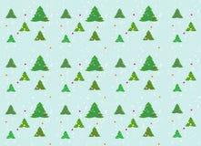 Enkel julbakgrund med julgranar och konfettier Arkivfoto