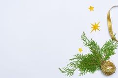 Enkel julsammansättning med gran förgrena sig dekoren på vit bakgrund Arkivbild