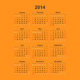Enkel kalender, 2014 Fotografering för Bildbyråer