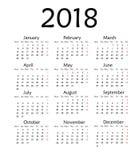 Enkel kalender för 2018 år Arkivfoton