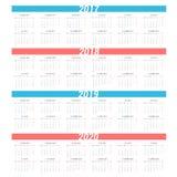 Enkel kalender för 4 år 2017 - 2020 Veckan startar från måndag Royaltyfri Foto