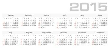 Enkel kalender för 2015 år vektor Arkivbild