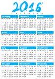 Enkel kalender för 2016 Royaltyfria Bilder
