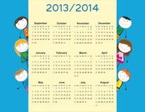 Enkel kalender för 2014 ungar Arkivbild