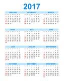 Enkel kalender 2017 i vertikal stil stock illustrationer