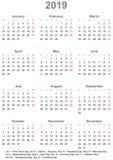 Enkel kalender 2019 med offentliga ferier för USA royaltyfri illustrationer