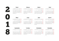 Enkel kalender på 2018 år i spanskt språk Arkivfoto