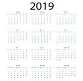 Enkel kalender 2019 enkel stil för kalender 2019 på vit backgr royaltyfri illustrationer