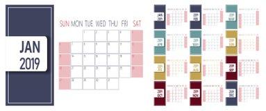 Enkel kalendermall för nytt år 2019 Veckastarter på söndag stock illustrationer