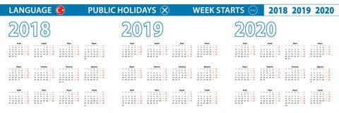 Enkel kalendermall i turkiskt för 2018, 2019, 2020 år Veckan startar från måndag vektor illustrationer