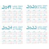 Enkel kalenderuppsättning för år 2019-2022 royaltyfri illustrationer