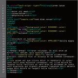Enkel kodvektor för HTML Färgrika abstrakta programetiketter i bäraresikt Skärm av kulör tänd syntax av skriften för källkod Royaltyfri Bild