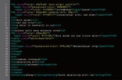 Enkel kodvektor för HTML Färgrika abstrakta programetiketter i bäraresikt Skärm av kulör tänd syntax av skriften för källkod Royaltyfri Foto