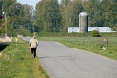 Enkel kvinna på en lantlig väg Arkivfoto