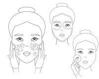 Enkel kvinnaframsida Den asiatiska flickan sätter på en framsidamaskering och en tvättande framsida Tillvägagångssätt för hudomso stock illustrationer