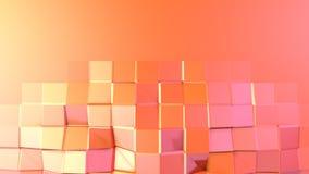 Enkel låg poly yttersida 3D som geometriskt ingrepp Mjuk geometrisk låg poly rörelsebakgrund av växling rent rosa orange rött vektor illustrationer