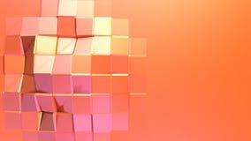 Enkel låg poly yttersida 3D som geometriskt raster Mjuk geometrisk låg poly rörelsebakgrund av växling rent rosa orange rött vektor illustrationer