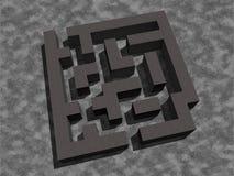 Enkel labyrintlabyrinttextur 3d framför mörka ljusa ljus skuggar skuggor Arkivbild