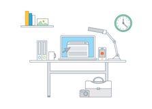 Enkel linje illustration av en modern affärsidéuppsättning Arkivfoto