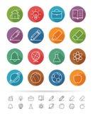 Enkel linje stil: Skola- och utbildningssymboler ställde in - vektorillustrationen Arkivbild