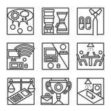 Enkel linje symboler för Co-arbete Royaltyfri Foto