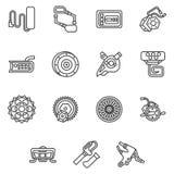 Enkel linje symboler för e-cykel delar Royaltyfri Fotografi
