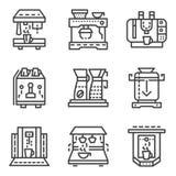 Enkel linje symboler för kaffemaskiner Royaltyfria Bilder