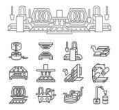 Enkel linje symboler för livsmedelsproduktion Arkivbild
