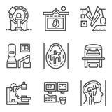 Enkel linje symboler för MRI-beståndsdelar Royaltyfri Bild