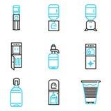 Enkel linje symboler för vattenkylare Arkivbild